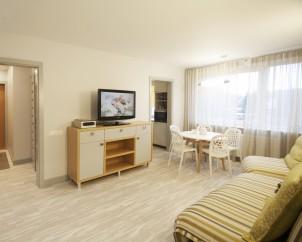 Gyvenamojo kambario TV baldas ir valgomojo zona