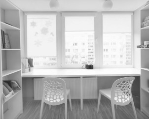 Vaikų kambario balkono-darbo zonos sprendinys